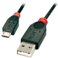 CAB-USB2-MICROB-0.5M Lindy Black 0.5m USB 2.0 Type A to Micro-B Cable