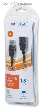 A Male-to-A Female USB 2.0 Extension Cable 10ft 1 A-male to A-female Extends a USB cable to a maximum of 5m 393850