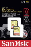 SDSDXNE-032G-GNCI2 Sandisk Extreme 32GB SDHC 90MB/s Class 10 UHS-I U3 Memory Card 2-pack